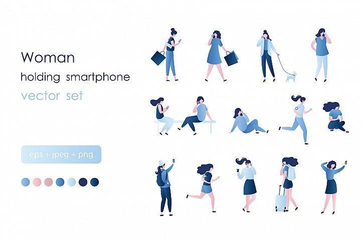 Set of girls with smartphones