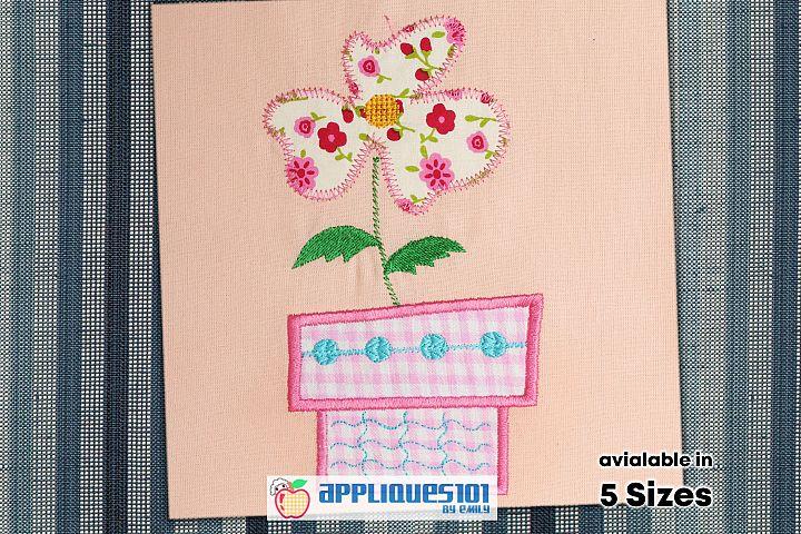 Flower Pot Machine Embroidery Applique Design - Flowers