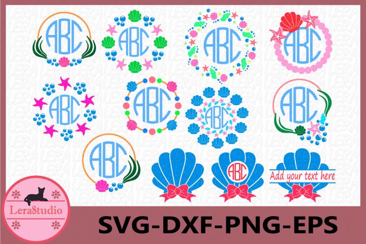 Seashell Svg, Shells Ocean Beach Svg, Seashell Monogram SVG