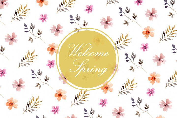 watercolor spring flowers leaves vector