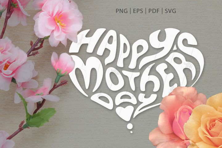 Heart-Shaped Lettering SVG, PNG, Mothers Day & Fathers Day