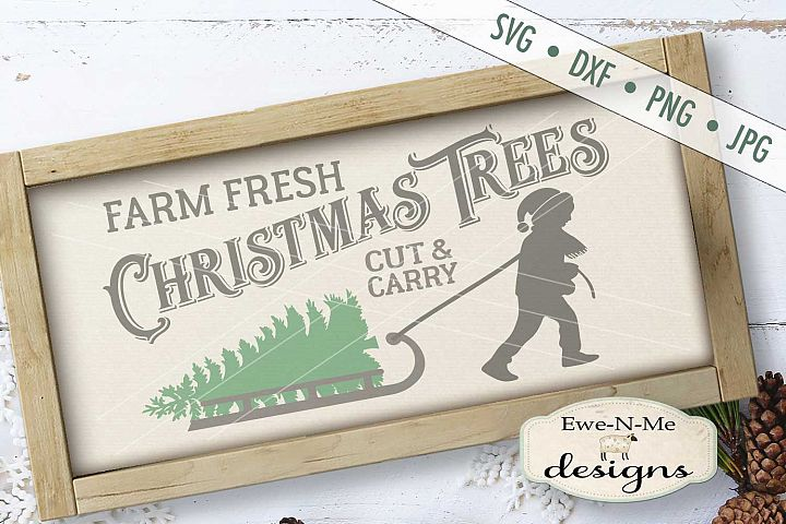 Christmas Trees Boy Pulling Sled SVG DXF Files