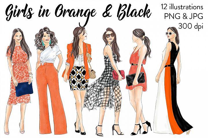 Watercolor fashion illusration clipart - Girls in Orange and Black