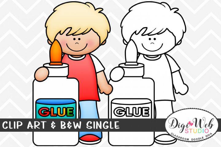 Clip Art & B&W Single - Boy w/ A Bottle of School Glue