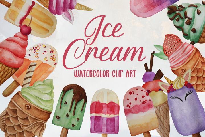Watercolor Ice Cream Clip Art