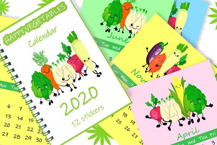 Vegetable calendar 2020 stickers as a gift