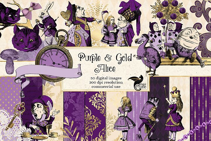 Purple and Gold Alice in Wonderland Graphics