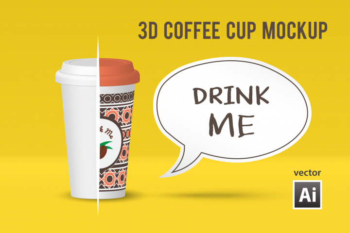 Vector 3D Coffee Cup Mockup for Ai