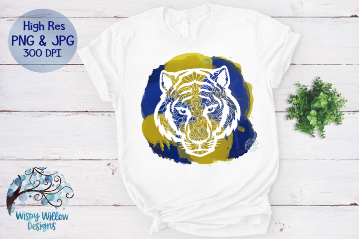 Tiger Mandala Blue and Gold PNG | Sublimation | Clipart