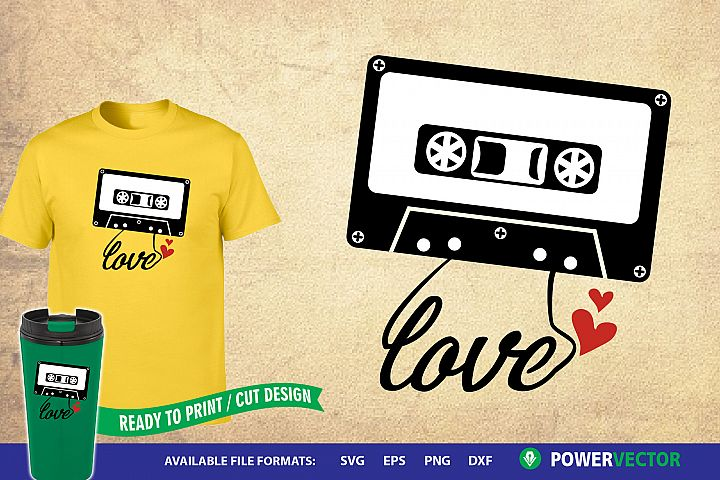 Cassette Tape Svg |Love Retro 90s Music Printable Design