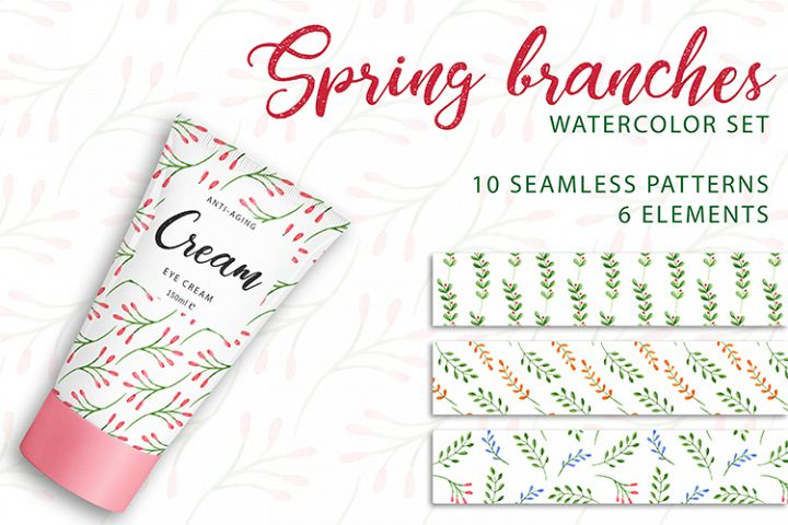 Spring branches. Watercolor set. PNG, JPG
