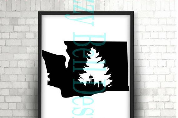WASHINGTON State Seattle Skyline & Evergreen Tree SVG