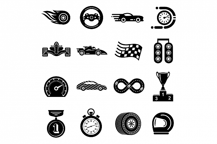 Car race icons set, simple style
