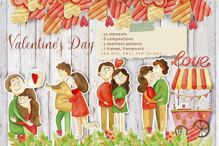 Valentines Day watercolor Set