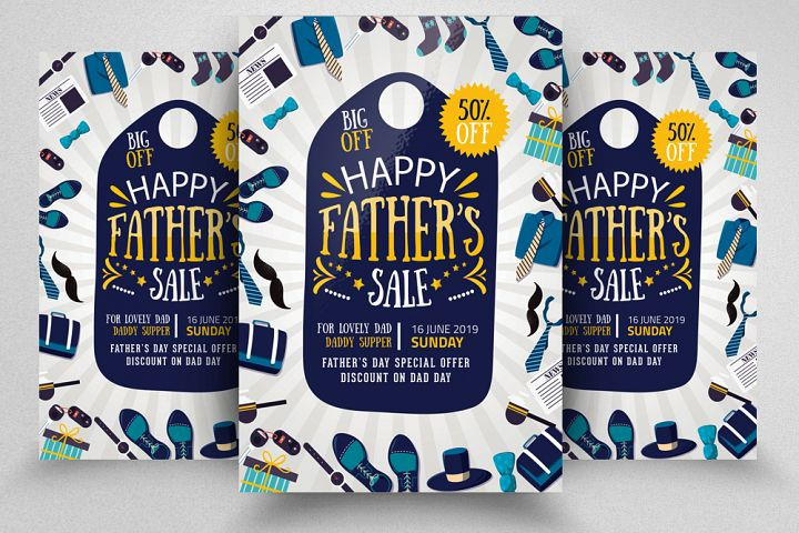 Fathers Day Sale Offer Flyer Template