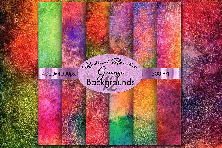 Radiant Rainbow Grunge Backgrounds - 12 Image Set