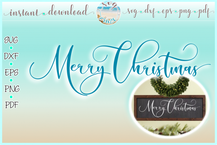 Merry Christmas Horizontal Wood Sign SVG Dxf Eps Png PDF