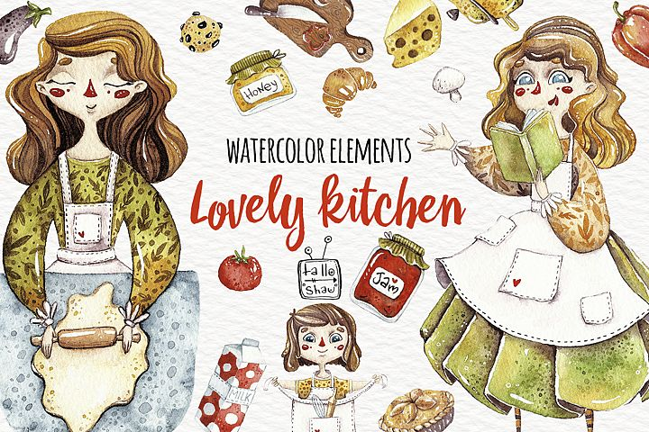 Watercolor Lovely kitchen