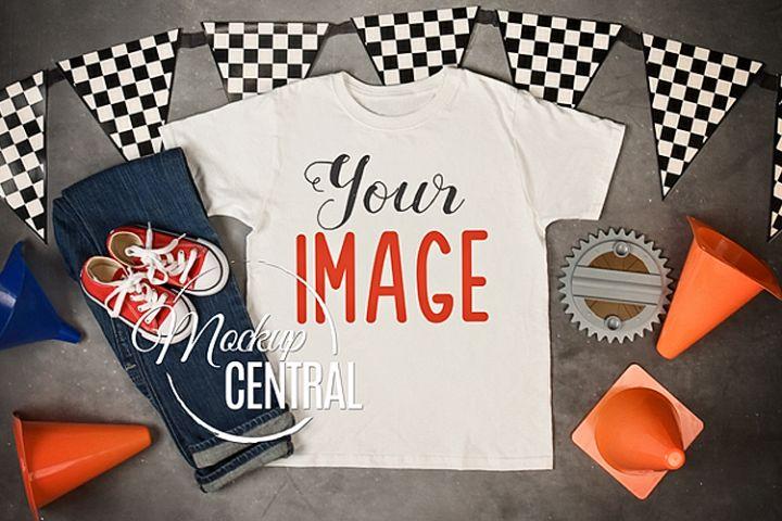 Child Youth Race Car T-Shirt Mockup Clothing Shirt, JPG