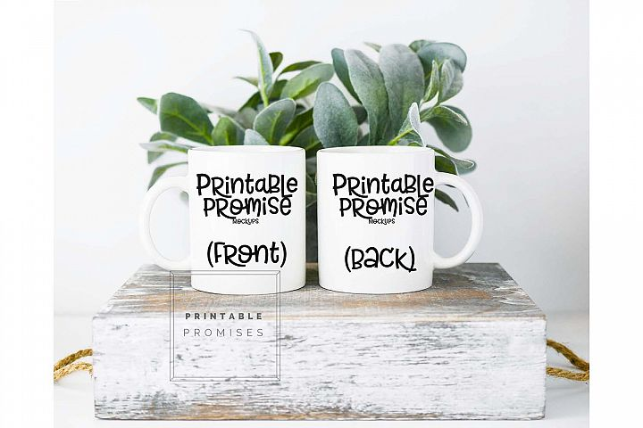 Front Back White Coffee Mug Mock Up