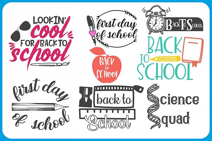 back to school bundle, first day of school, svg files, dxf