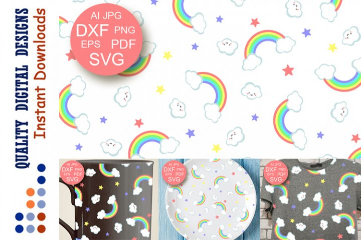 Rainbow backdrop SVG Seamless pattern Birthday Baby shower