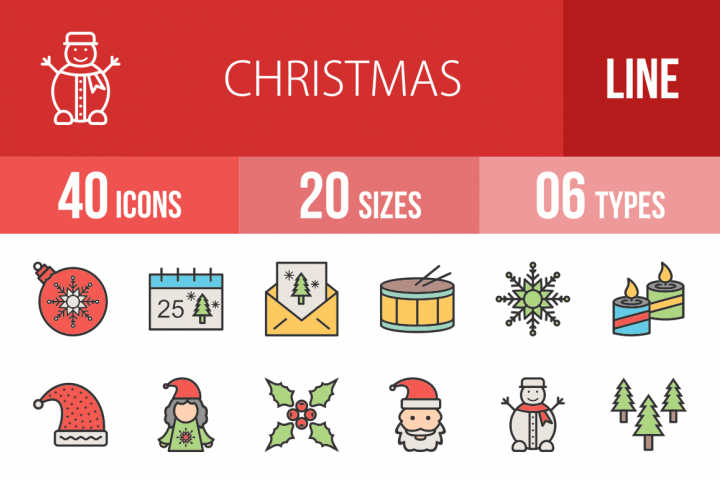 40 Christmas Filled Line Icons Season II