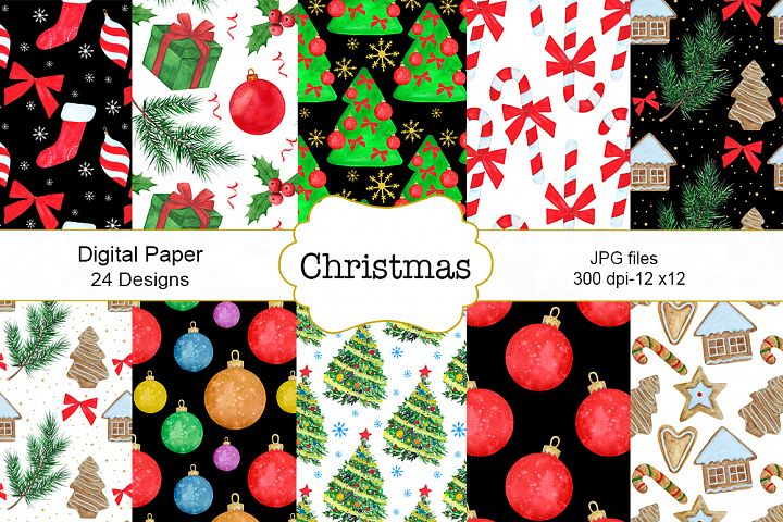 Christmas watercolor patterns