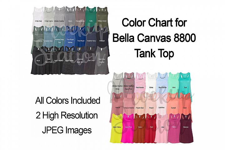 Bella Canvas 8800 Tank Top Color Chart, Digital Color Swatch