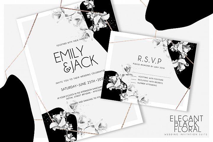 Elegant Black Floral Wedding Suite