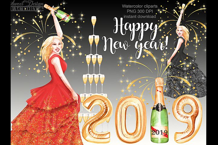 New year 2019 clipart.