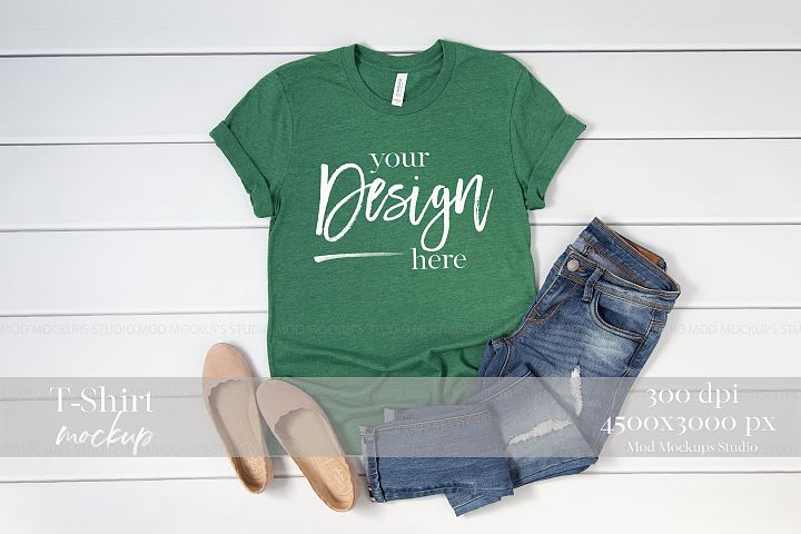 T Shirt Mockup Heather Grass Green 3001 Bella Canvas Mockup
