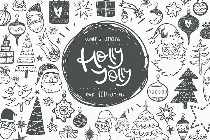 Holly Jolly. Winter doodles.
