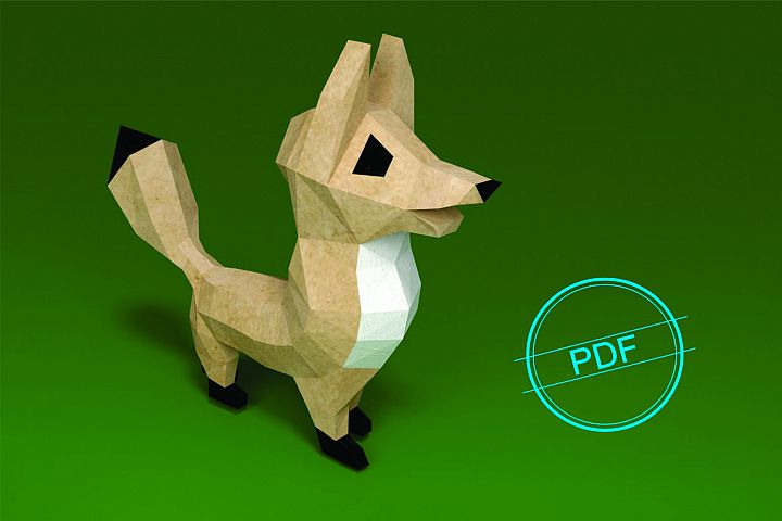Printable DIY template PDF. Fox low poly paper model
