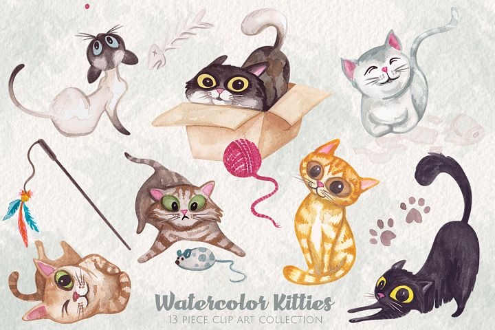 Watercolor Kitty Cats Clip Art