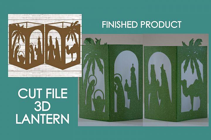 Christmas Nativity 3D Paper Lantern #03 Design #02 Cut File