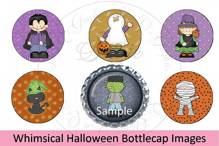 Whimsical Halloween Bottlecap Images, Labels