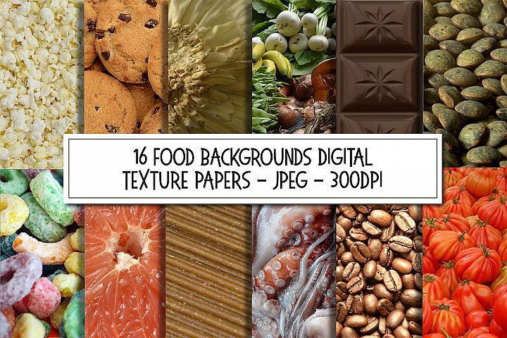 16 Food Background Texture Photographs Bundle