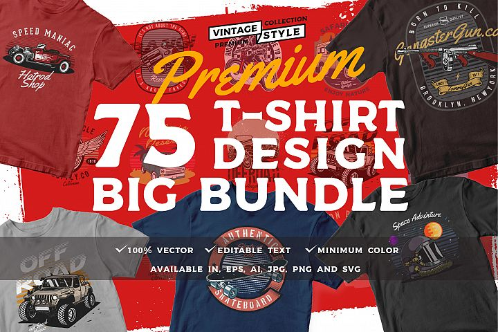 75 T-shirt design bundle