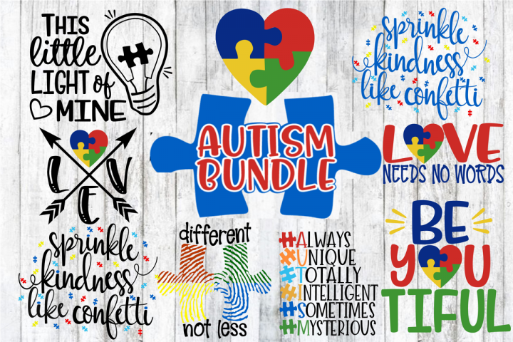 Autism Bundle - 8 Designs - Autism Awareness - SVG PNG EPS