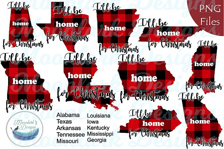 Home for Christmas | 10 States in Buffalo Plaid PNG files
