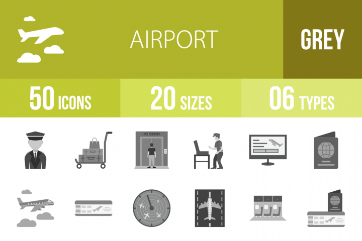 50 Airport Greyscale Icons