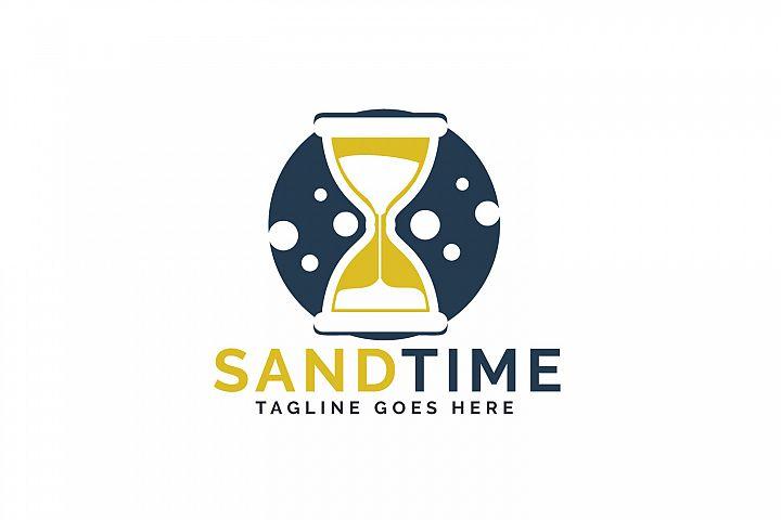 Sand time logo design. Hourglass logo design.