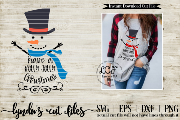 Holly Jolly Christmas Snowman//Christmas//SVG//EPS//DXF