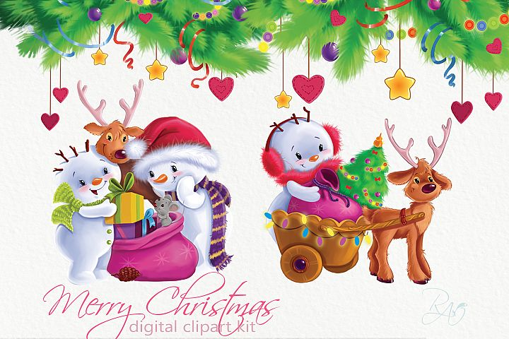 Christmas clipart kit with Snowman, deers, Christmas tree