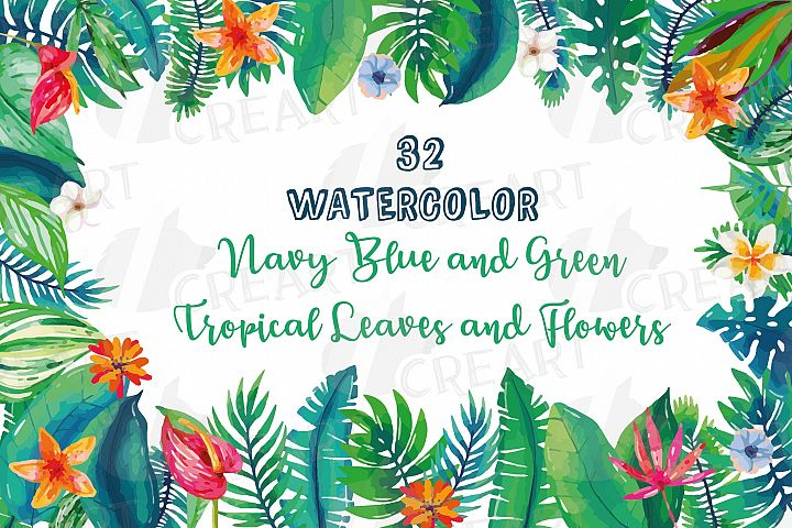 Tropical navy blue and green leaves and exotic flowers