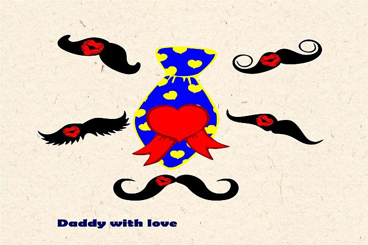 Daddy with love SVG, EPS, DXF, JPEG, PNG