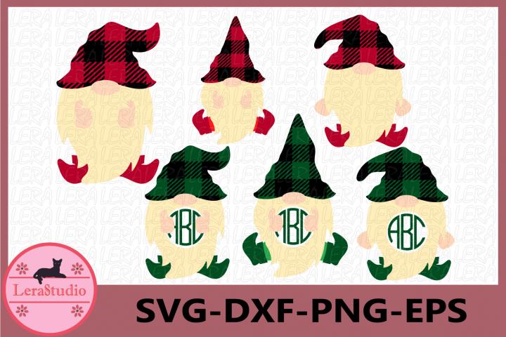 Gnome Buffalo Plaid Svg, Gnome Monogram Frames Svg