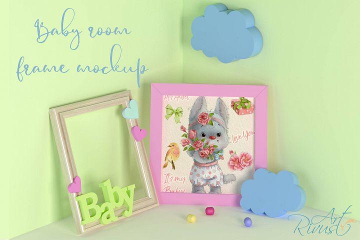 PSD Nursery mockup Kids room mockup Blank wall Print mockup