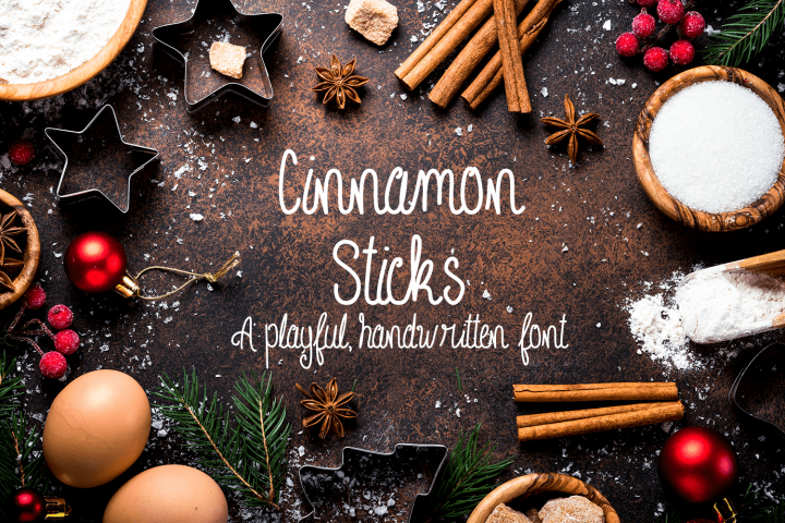 Cinnamon Sticks Handwritten Font example